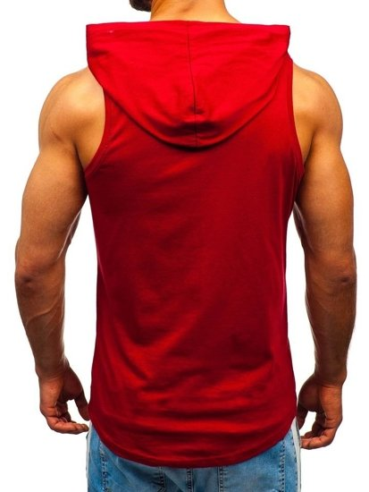 Koszulka tank top męska z nadrukiem i kapturem czerwona Bolf 1280