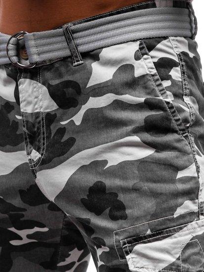 Krótkie spodenki bojówki męskie z paskiem szare Denley 5604