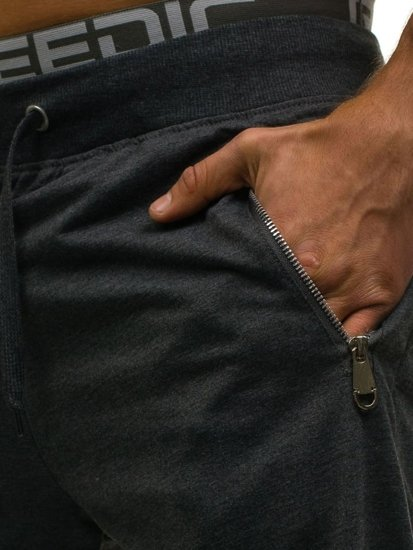 Krótkie spodenki dresowe męskie antracytowe Denley 6010
