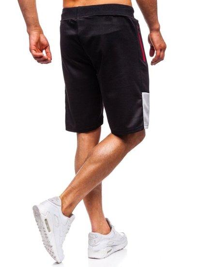 Krótkie spodenki dresowe męskie czarne Denley 81002