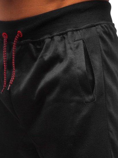 Krótkie spodenki dresowe męskie czarne Denley 81020