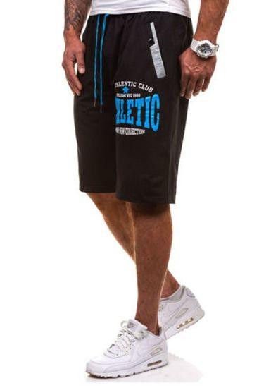 Krótkie spodenki dresowe męskie czarno-niebieskie Denley 192A
