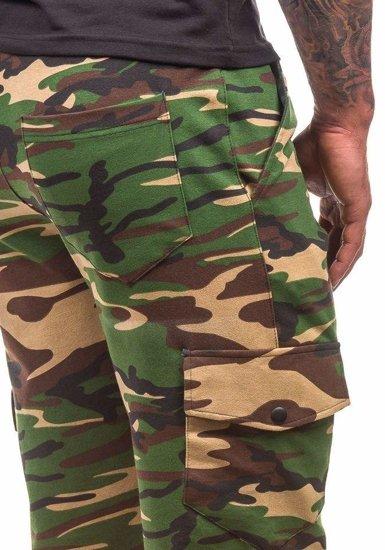 Krótkie spodenki dresowe męskie moro-khaki Denley 0470