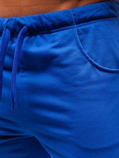 Krótkie spodenki dresowe męskie niebieskie Denley B1002