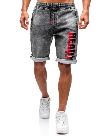 Krótkie spodenki jeansowe męskie czarne Denley HY323