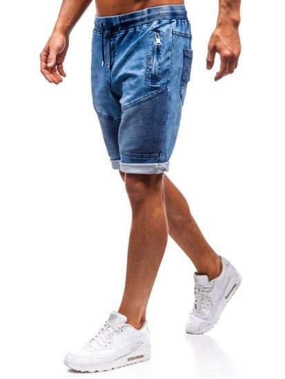 Krótkie spodenki jeansowe męskie granatowe Denley HY345