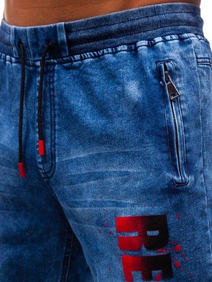 Krótkie spodenki jeansowe męskie granatowo-czerwone Denley HY323