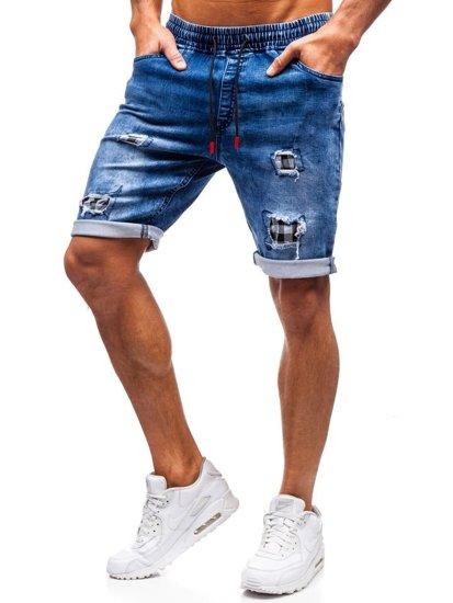 Krótkie spodenki jeansowe męskie granatowo-czerwone Denley HY328