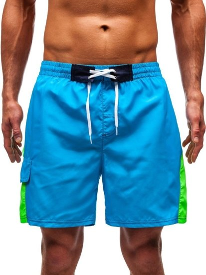 Krótkie spodenki kąpielowe męskie jasnoniebieskie Denley 347