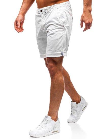 Krótkie spodenki męskie białe Denley 5919