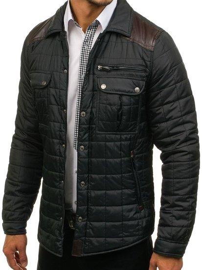 Kurtka męska przejściowa elegancka czarna Denley 004
