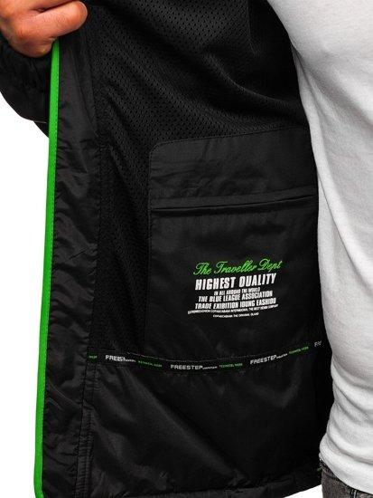 Kurtka męska przejściowa softshell czarno-zielona Denley 5612