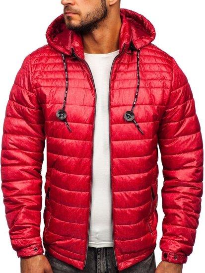 Kurtka męska przejściowa sportowa pikowana czerwona Denley 50A411