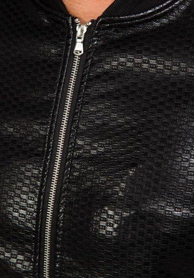 Kurtka męska skórzana bomberka czarna Denley 8980