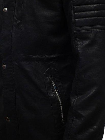Kurtka męska skórzana parka czarna Denley 5573
