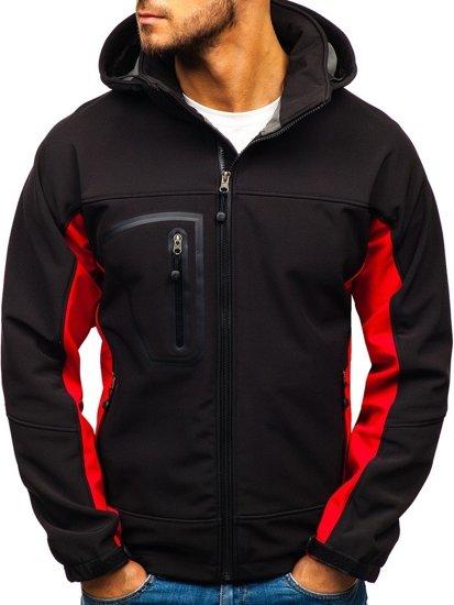 Kurtka męska softshell czarno-czerwona Denley T019