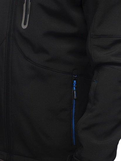 Kurtka męska softshell czarno-niebieska Denley 12263