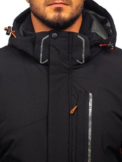 Kurtka męska zimowa narciarska czarno-pomarańczowa Denley 1910