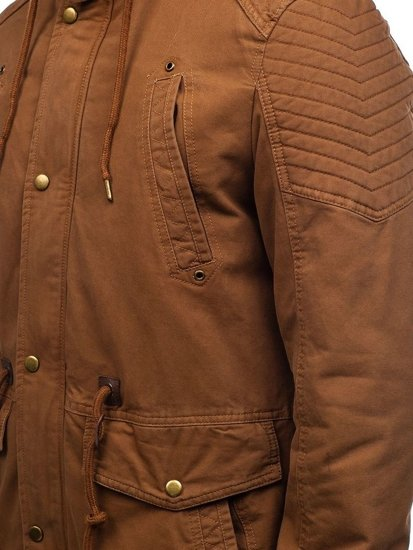 Kurtka męska zimowa parka brązowa Denley 5810
