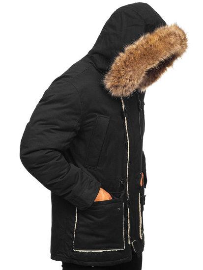 Kurtka męska zimowa parka czarna Denley 1099