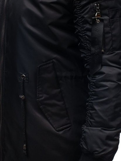 Kurtka męska zimowa parka czarna Denley 5308