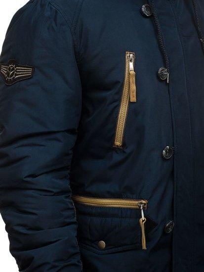 Kurtka męska zimowa parka granatowa Denley 1045