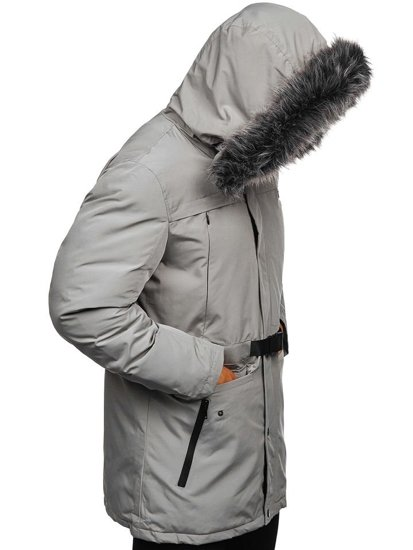 Kurtka męska zimowa parka szara Denley 1092