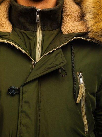 Kurtka męska zimowa parka zielona Denley 1045