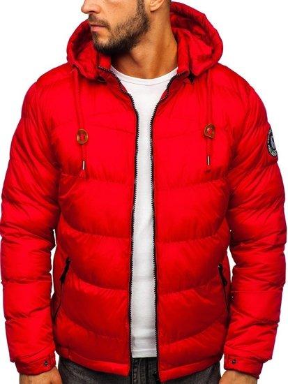 Kurtka męska zimowa sportowa pikowana czerwona Denley 50A156