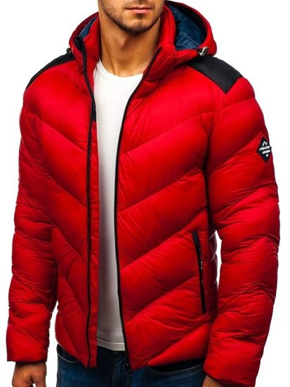 Kurtka męska zimowa sportowa pikowana czerwona Denley AB100