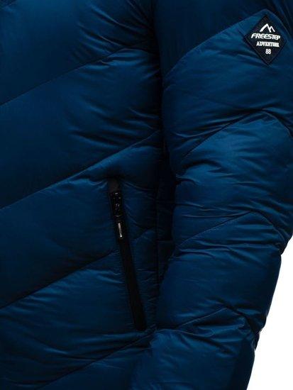 Kurtka męska zimowa sportowa pikowana granatowa Denley AB100