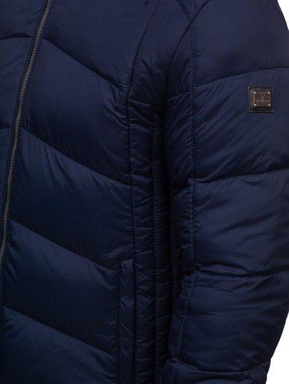 Kurtka męska zimowa sportowa pikowana granatowa Denley AB102