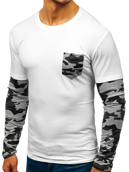 Longsleeve męski biały Denley 5003A