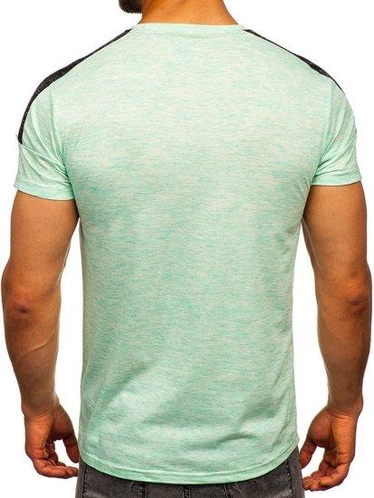 Miętowy T-shirt męski z nadrukiem Denley SS11127