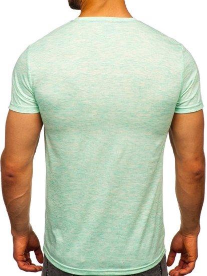 Miętowy T-shirt męski z nadrukiem Denley SS11130