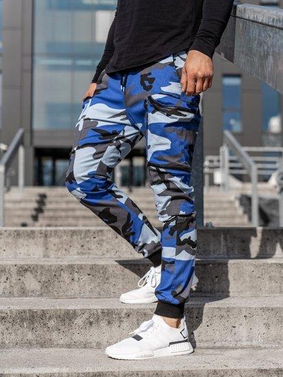 Niebieskie spodnie joggery bojówki męskie Bolf 0475