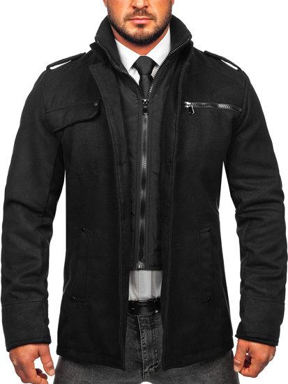 Płaszcz męski czarny Denley 8856
