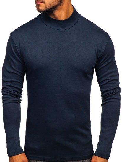 Półgolf męski bez nadruku jeansowy Denley 145348