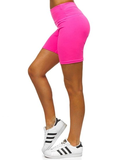 Różowy-neon krótkie legginsy damskie Denley 54548