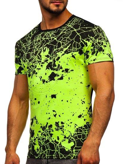 Seledynowy T-shirt męski z nadrukiem Denley SS11013
