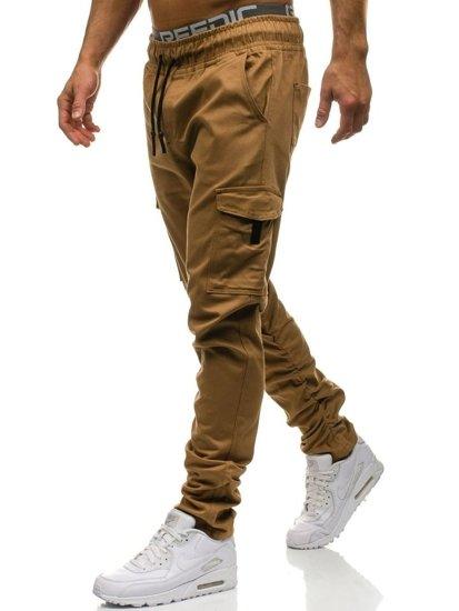 Spodnie bojówki męskie camelowe Denley 0857