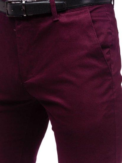 Spodnie chinosy męskie bordowe Denley 1120 AQ DMAAQ 5 trwałe