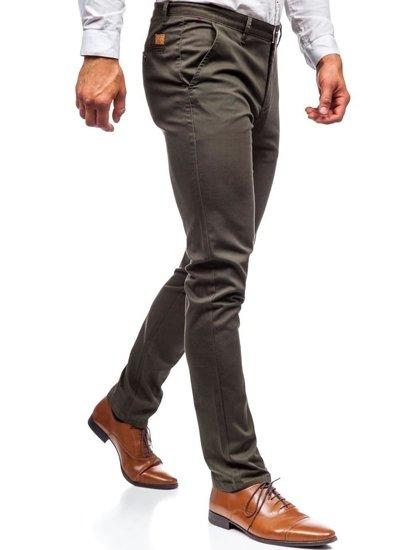Spodnie chinosy męskie khaki  Denley KA969