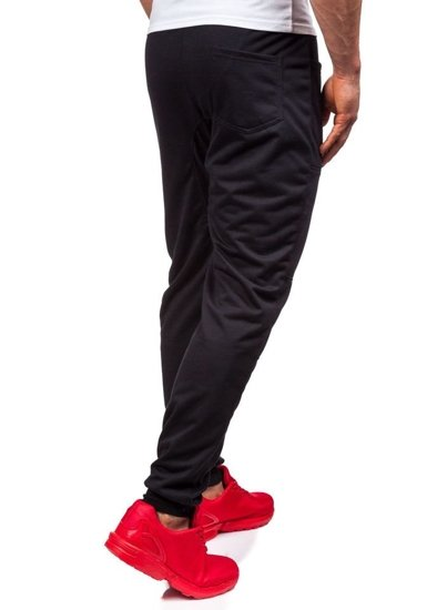 Spodnie dresowe baggy męskie czarne Denley 6016