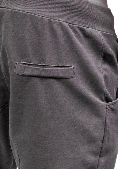 Spodnie dresowe baggy męskie grafitowe Denley 2587