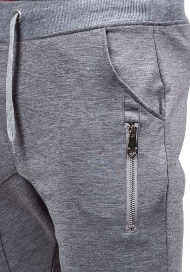 Spodnie dresowe baggy męskie szare Denley 6025