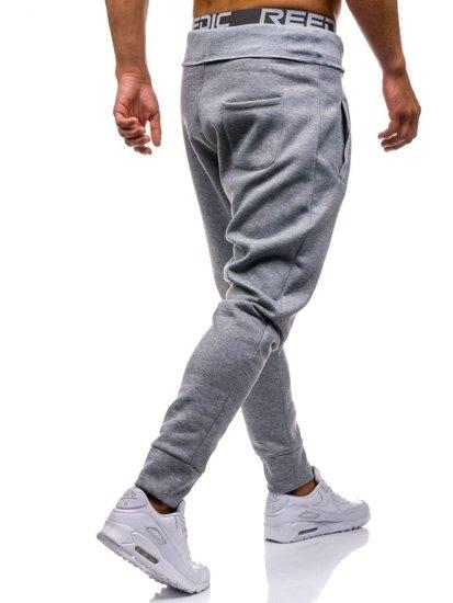 Spodnie dresowe baggy męskie szare Denley1668