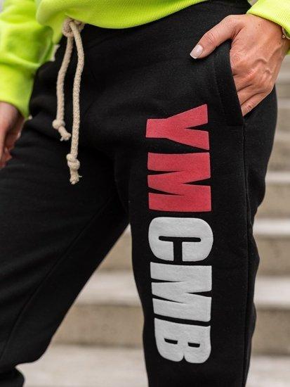 Spodnie dresowe damskie czarne Denley 601