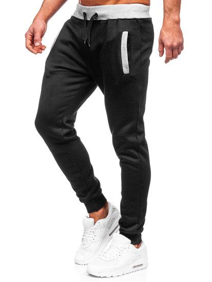 Spodnie dresowe joggery męskie czarne Denley AK13