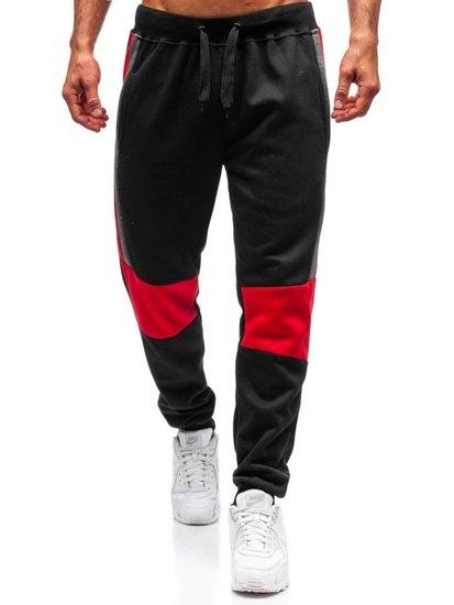 Spodnie dresowe joggery męskie czarne Denley KZ01